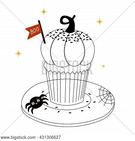 Linear Cute Sweet Pumpkin Cupcake For Halloween With Little Spider, Clouds And Boo Sign. Vector Illu