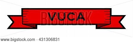 Vintage Red Color Ribbon Banner With Word Vuca (abbreviation Of Volatility, Uncertainty, Complexity
