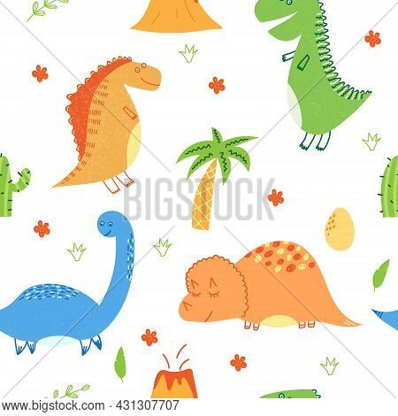 Hand Drawn Vector Illustration Of Seamless Pattern Of Cute Dinosaurs And Elements Like Volcano, Palm