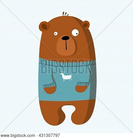 Cute Funny Bear In Sweater, Vector Clipart, Childrens Funny Illustration With Cartoon Character