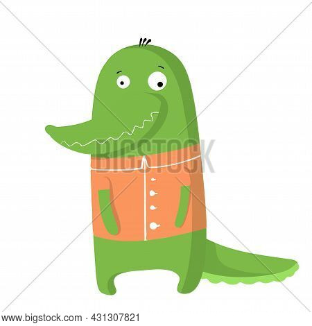 Cute Funny Crocodile In T-shirt, Vector Clipart, Childrens Funny Illustration With Cartoon Character