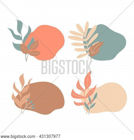 Abstract Spot And Autumn Leaves In Pastel Colors. Background For Tags, Cards, Banners. Set Of 4 Colo