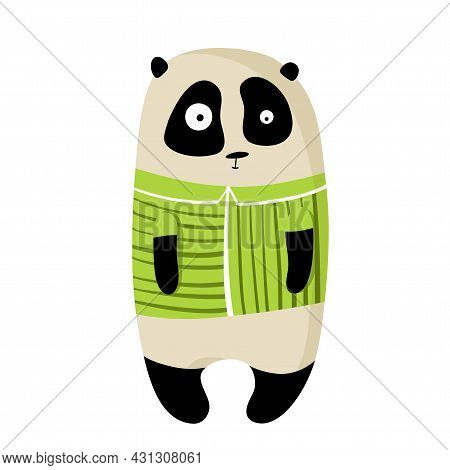 Cute Funny Panda In T-shirt, Vector Clipart, Childrens Funny Illustration With Cartoon Character