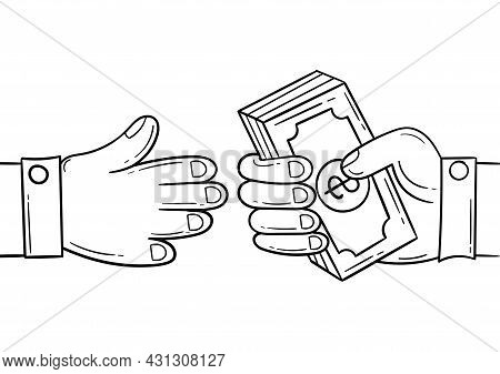 Hand Drawn Illustration Of Two People Working Together In Business Or Conducting Financial Transacti