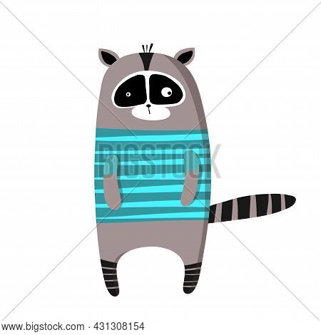 Cute Funny Raccoon In T-shirt, Vector Clipart, Childrens Funny Illustration With Cartoon Character