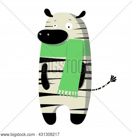 Cute Funny Zebra In Autumn Scarf, Vector Clipart, Childrens Funny Illustration With Cartoon Characte