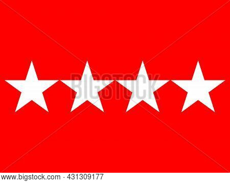 The Flag Of A Usa Army General Of A Quartet Of White Stars Set Over A Red Background