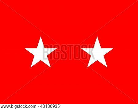 The Flag Of A Usa Army Major General Of A Pair Of White Stars Set Over A Red Background