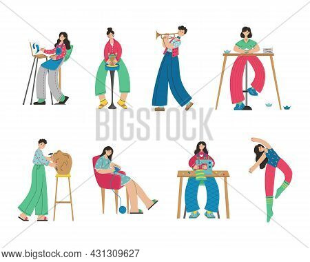 A Set Of Illustrations Of People Of Creative Professions. Artist, Origami, Dancer, Sewing, Knitting,