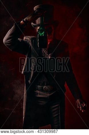 A Young Man In Image Of Baron Samedi, The Voodoo Deity. Baron Saturday In Black Suit And Top Hat Wit