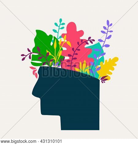 Mental Health Concept. Abstract Image Of Head With Flowers Inside. Plants, Flower And Leaves As A Sy