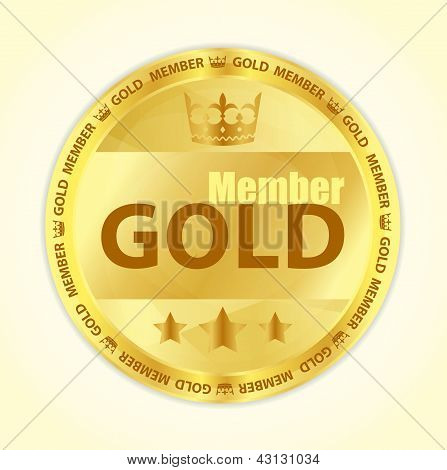 Gold Member Badge With Royal Crown And Three Golden Stars