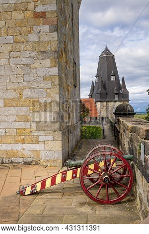 Bad Bentheim, Germany - August 25, 2021: Canon At Bentheim Castle In Nordrhine Westfalen In Germany,