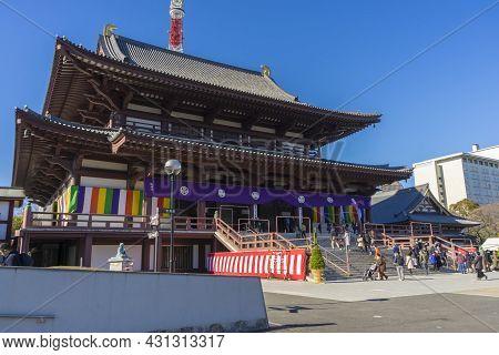 Tokyo, Japan - January 5,2020 : Japanese People Make Merit At Zojo-ji Temple In Tokyo, Japan On Janu