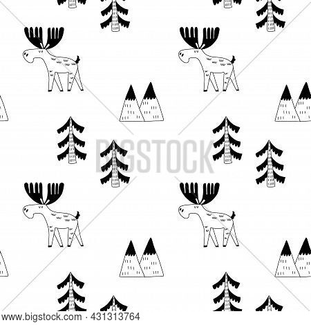 Doodle Elk Seamless Pattern. Hand Drawn Line Scandinavian Black And White Print, Cute Scandi Forest