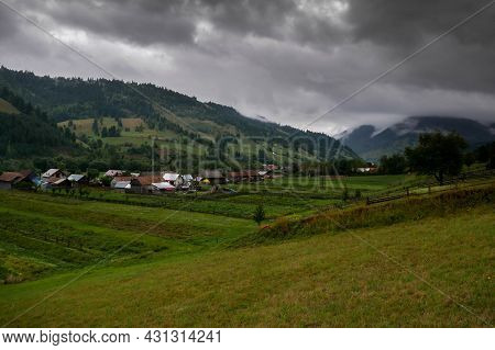 Valea Rece, Romania- 29 August 2021: Small Hungarian Village On A Cloudy Late Summer Day.
