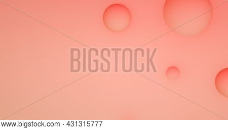 Abstract Peach Background With Dynamic 3d Spheres. Pink And Peach Balls On A Pink Background.