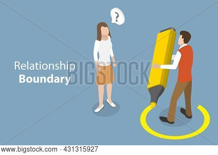 3d Isometric Flat Vector Conceptual Illustration Of Relationship Boundary, Comfortable Friend Zone L