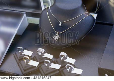 Close Up Jewelry Diamond Shop Window Display
