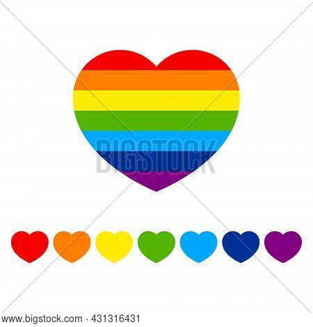 Lgbt Heart Shape Isolated Vector Illustration In Rainbow Color, Symbol Of Homosexual Love Lgbt Pride