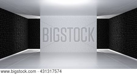 Black And White Three-dimensional Empty Room Stage. Simple Illuminated Background. 3d Render