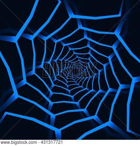 Abstract Geometric Mosaic Shapes Dark Blue Futuristic Background. Ornamental Futuristic Navy Blue Sp