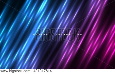 Abstract Pink And Blue Neon Light Motion Lines Background. Dark Background With Colored Neon Light L