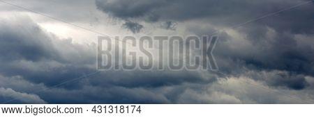Panoramic Banner Of Dark Gray Clouds Sky