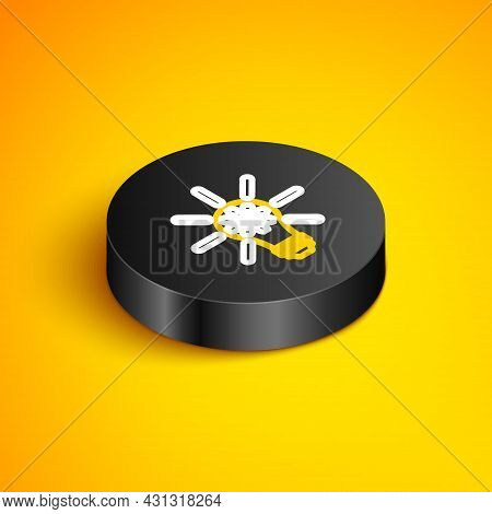 Isometric Line Light Bulb With Gear Inside And Dollar Symbol Icon Isolated On Yellow Background. Fin