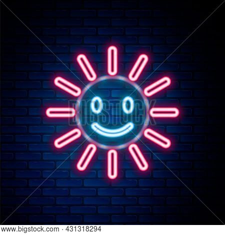Glowing Neon Line Cute Sun With Smile Icon Isolated On Brick Wall Background. Funny Smiling Sun. Hap