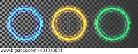 Glow Circle Set. Luminous Swirling. Elegant Glowing Circle. Sparking Particle. Space Tunnel. Glossy