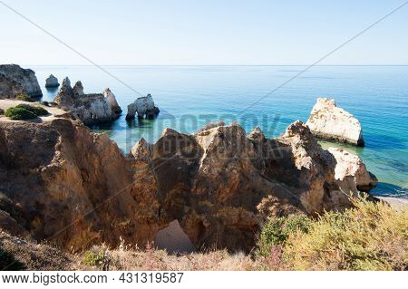Beautiful View From Above Of Beach Of The Three Brothers. Alvor, Portimao, Algarve, Portugal. Europe