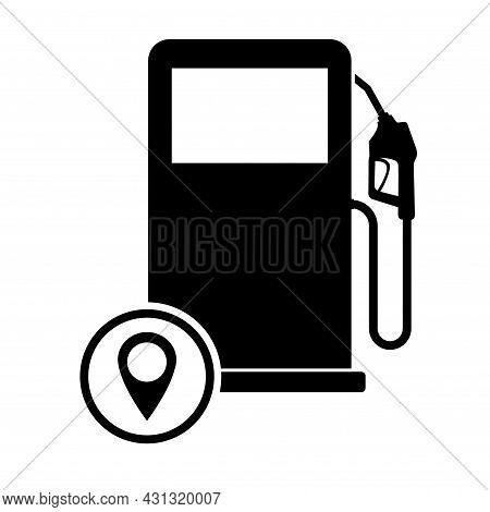 Gas Station Icon, Nozzle Isolated Logo Vector, Pump Gasoline Design, Oil Power Energy Symbol .