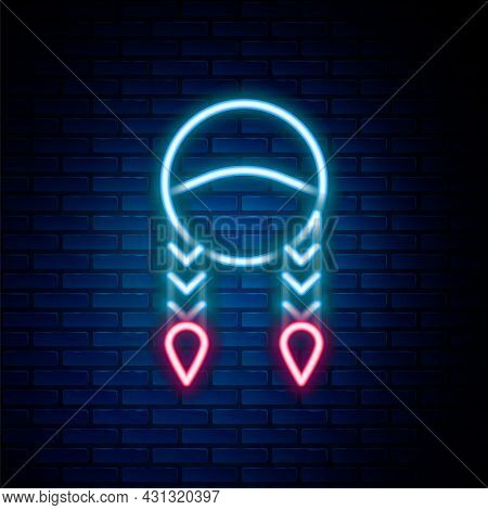 Glowing Neon Line Braid Icon Isolated On Brick Wall Background. Colorful Outline Concept. Vector