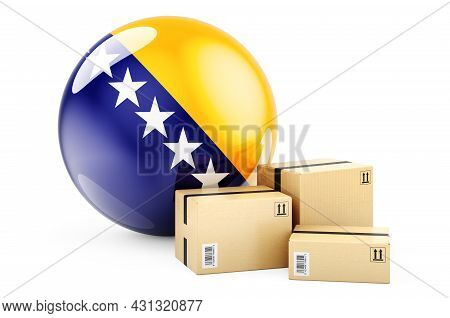 Parcels With Bosnian Flag. Shipping And Delivery In Bosnia And Herzegovina, Concept. 3d Rendering Is