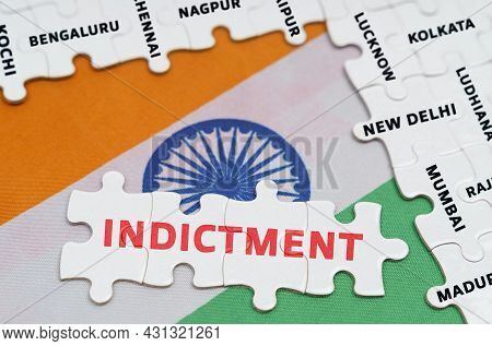 National Concept. On The Flag Of India - Puzzles With The Names Of Cities And Puzzles With The Inscr