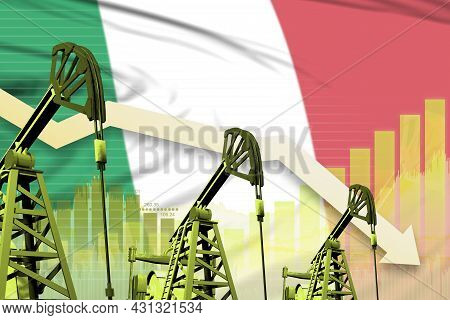 Italy Oil Industry Concept, Industrial Illustration - Lowering Down Chart On Italy Flag Background.