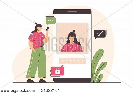 Face Recognition Technology Or Personal Verification. Flat Woman Character With Phone. Facial Biomet