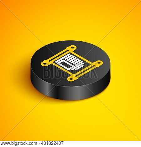 Isometric Line Decree, Paper, Parchment, Scroll Icon Icon Isolated On Yellow Background. Chinese Scr