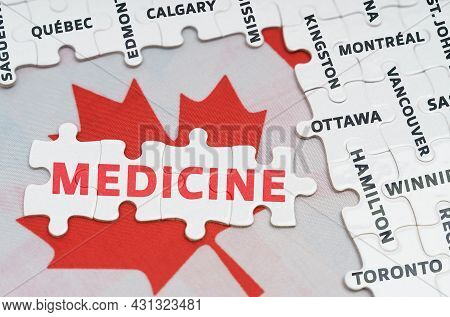 National Concept. The Flag Of Canada Features City Name Jigsaw Puzzles And Jigsaw Puzzles With The W