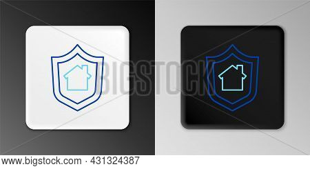 Line House With Shield Icon Isolated On Grey Background. Insurance Concept. Security, Safety, Protec