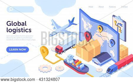 Logistics Company Concept. Landing Page For Company Engaged In Distribution, Transportation And Deli