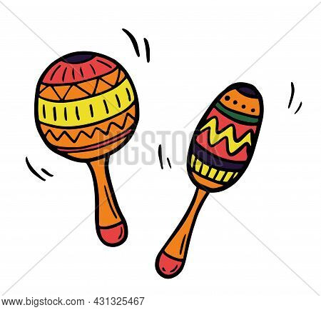 Maracas. Coloring Page, Coloring Book. Contour. Percussion Musical Instrument: Beanbag, Rumba Shaker