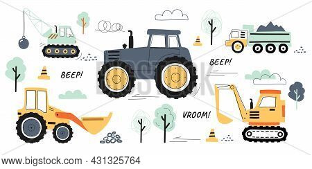 Collection Of Machines For Construction. Stickers With Truck, Crane And Tractor. Design Elements For