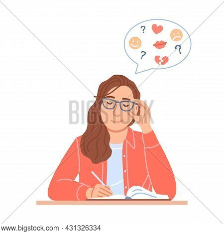 Beautiful Young Woman Holding Pen In Hand Writes Diary Or Journal Sits At Table. Flat Pretty Girl Po