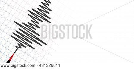 Earthquake Background. Seismogram For Seismic Measurement  On White Background.