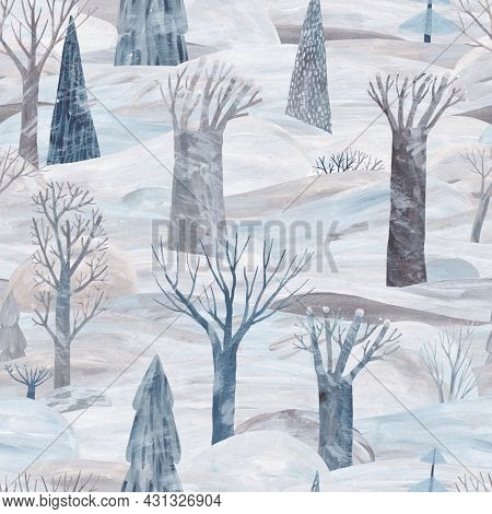 Cute winter landscape, trees and drifts. Gouache illustration. Winter seamless pattern. Pastel colors. Seamless pattern background.