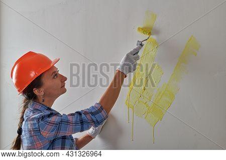 Repairwoman Wearing A Helmet Beautifully Painted Wall