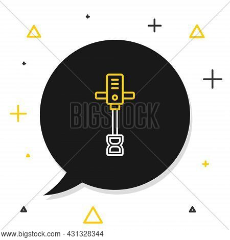 Line Electrical Hand Concrete Mixer Icon Isolated On White Background. Handheld Electric Cement Mixe