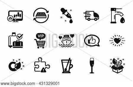 Vector Set Of Chemistry Pipette, Paint Brush And Champagne Glass Icons Simple Set. Candlestick Chart